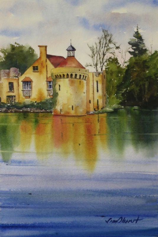 "Scotney Castle, England - 11x7.5"" original watercolor painting by Jim Oberst - $100 including U.S. shipping."