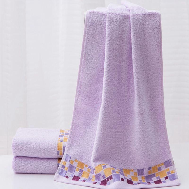 Purple Yellow Square Pattern Towel Sets High Quality Bamboo Fiber Bath Towel Thickening Comfortable Water Absorption Face Towels
