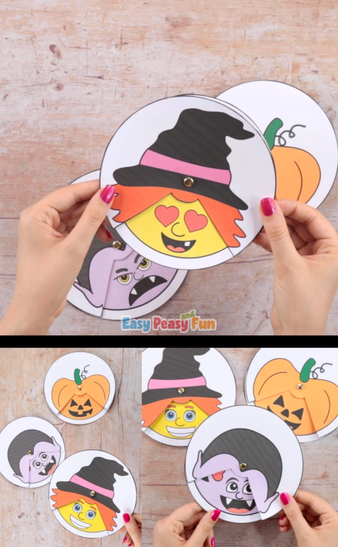 Now this is a Halloween craft full of emotions! Print out our Halloween emotions spinners and have your kids explore a