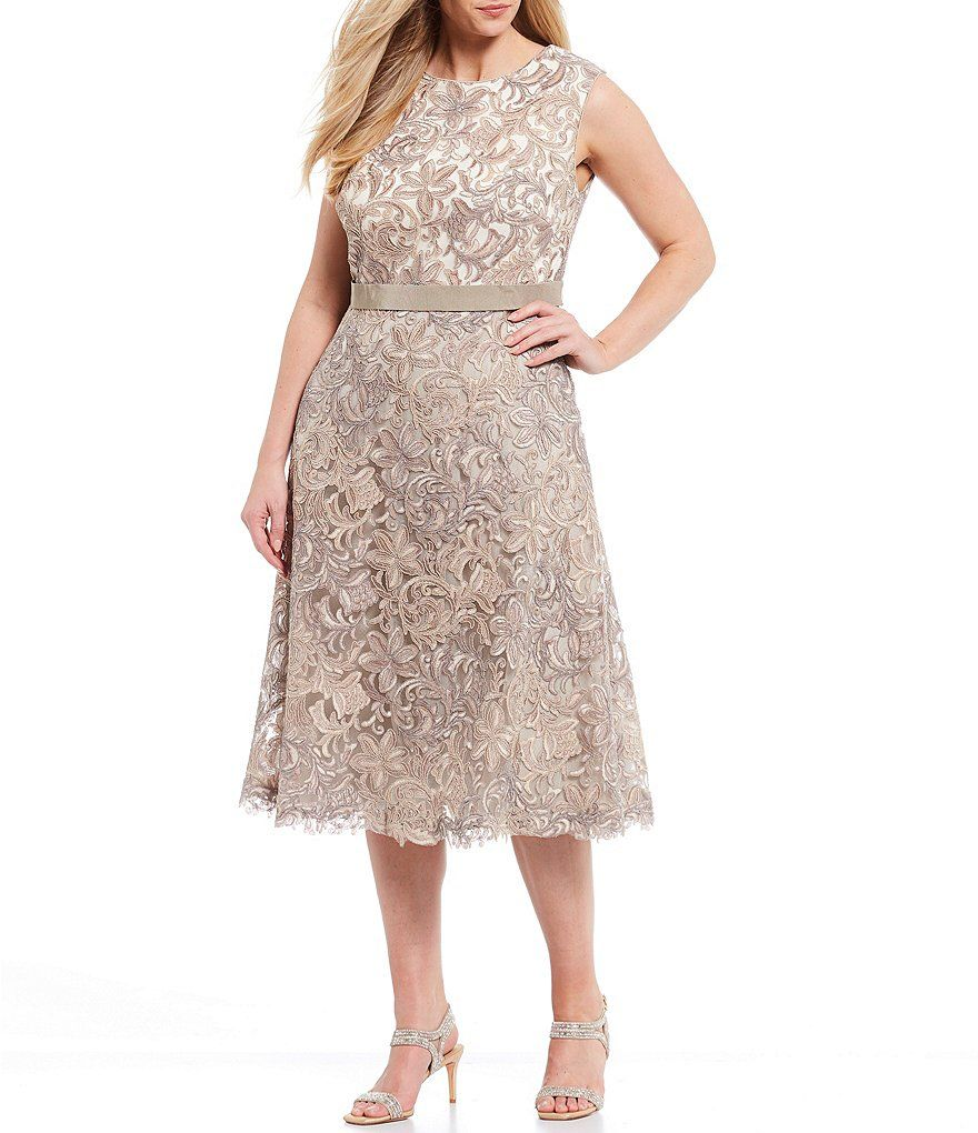 Tadashi Shoji Plus Size Patterned Lace Overlay Midi Dress Dillard S Plus Size Patterns Dresses Semi Formal Dresses For Wedding [ 1020 x 880 Pixel ]