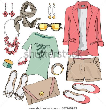 30129016383 Casual women clothes collection. Vector illustration for vogue ...
