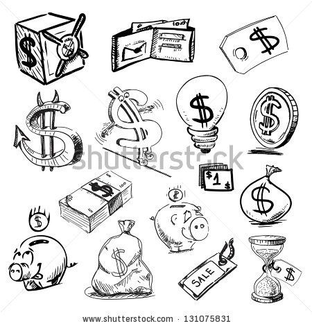 Finance And Money Icons Collection Hand Drawing Sketch Vector Illustration Stock Vector Money Sign Tattoo Tattoo Design Drawings Money Icons