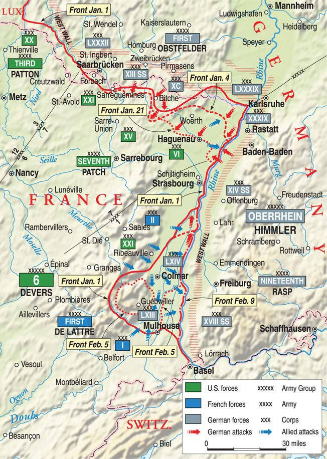 Operation Nordwind in Alsace-Lorraine caused weeks of confusion and  casualties, but ultimately failed to halt the Al…   Wwii maps, American  military history, Battle