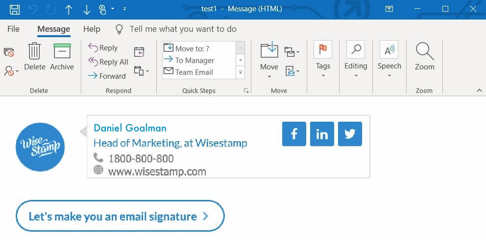 Add social media icons to Outlook email signature (1min