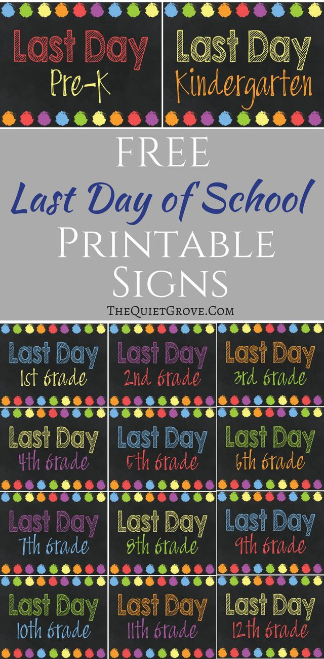 photo regarding Last Day of Kindergarten Printable named Free of charge Printable Past Working day of Higher education Indicators! Free of charge Printables