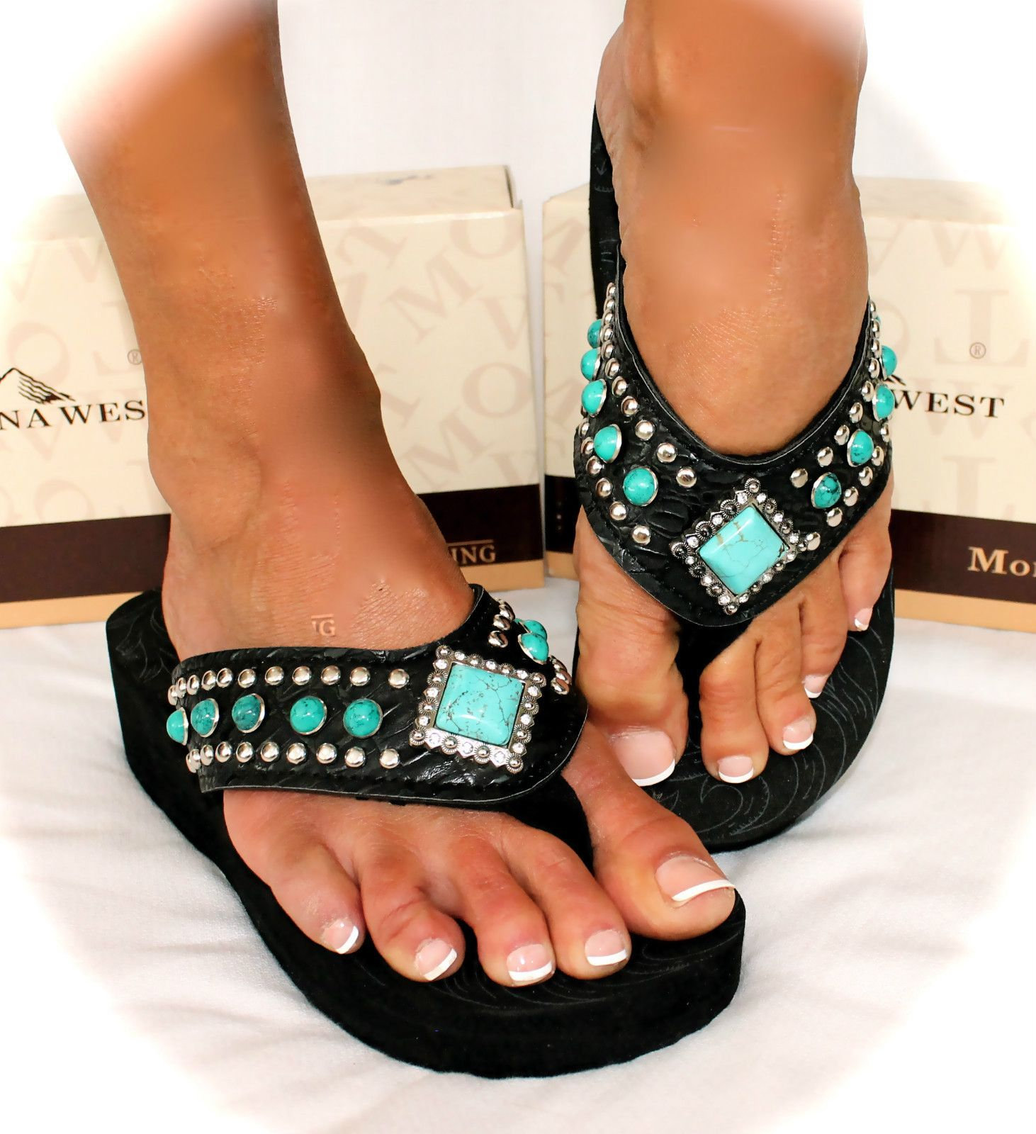 5d7d13fc2 Montana West Turquoise Black Bling Western Foam Wedge Flip Flops All Sizes!
