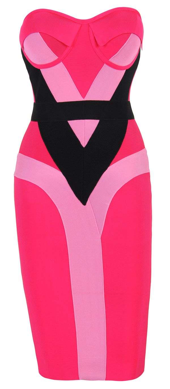 Hot pink and orange dress  Alexandriau Hot Pink u Black Strapless Bandage Dress  My Dream