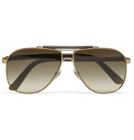 Gucci Leather and Metal Aviator Sunglasses   Eye tune   Pinterest ... 8fd4dd46dc