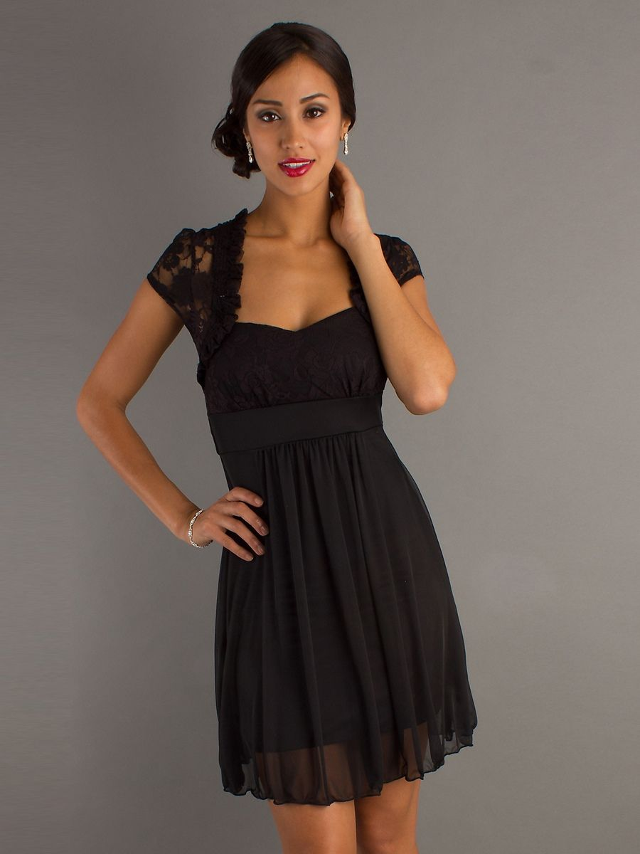 black dress wedding guest Capped Sleeves Square Neckline Empire Waist Black Chiffon Wedding Guest Dresses