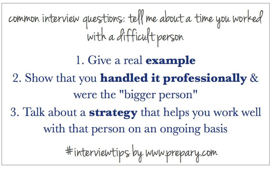 Common Interview Questions Time when you\u0027ve worked with a difficult