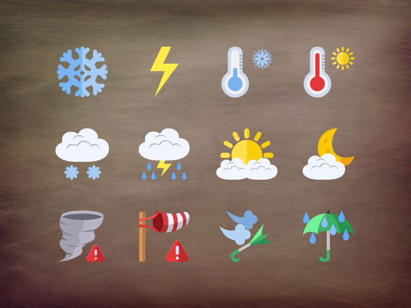 @2x Weather flat icons by Stafie Anatolie