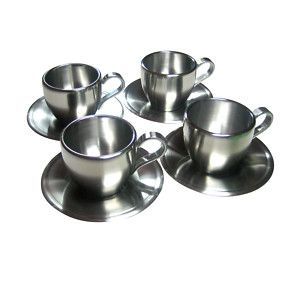 4 Stainless Steel Espresso Coffee Cups Saucers Set Ebay