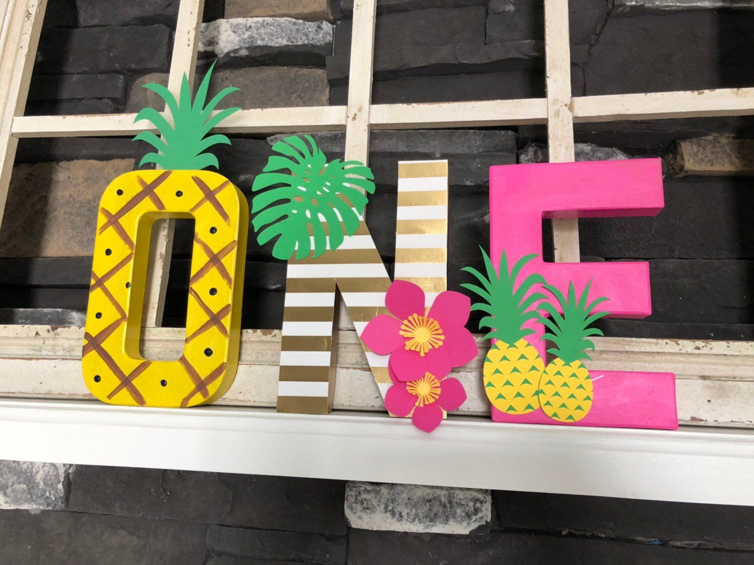 Tropical party decor , ONE letters photo props #tropicalbirthdayparty