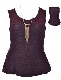 SLEEK SLEEVELESS PEPLUM TOP WITH NECKLACE  WHOLESALE PLUS SIZE TOPS  4656 UNIT PRICE$8.75 1-1-1PACKAGE3PCS