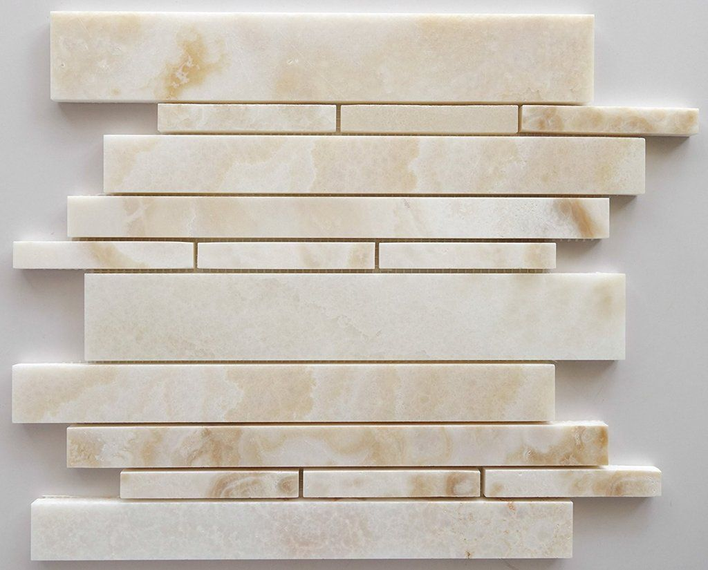 Premium White Onyx CROSS-CUT Polished Random Strip Mosaic Tile ...