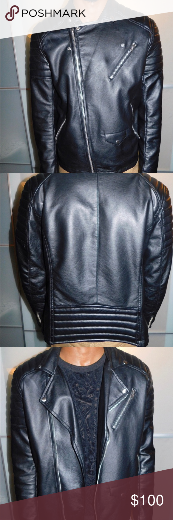 Sporty H&M Men's Leather Jacket size L 👌🏾 Leather jacket