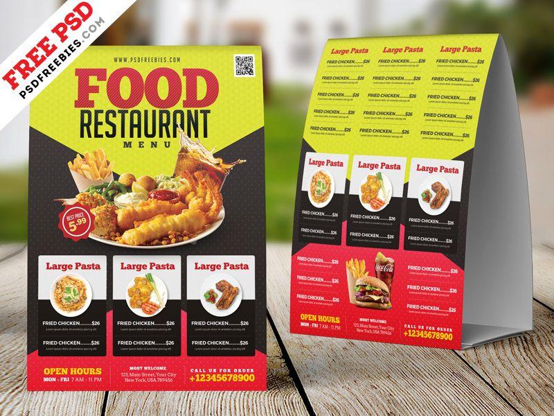 Free Psd Restaurant Tent Card Design Psd Tent Cards Restaurant Free Psd