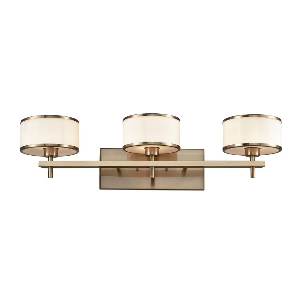 Titan lighting utica 3 light satin brass with opal white glass bath light