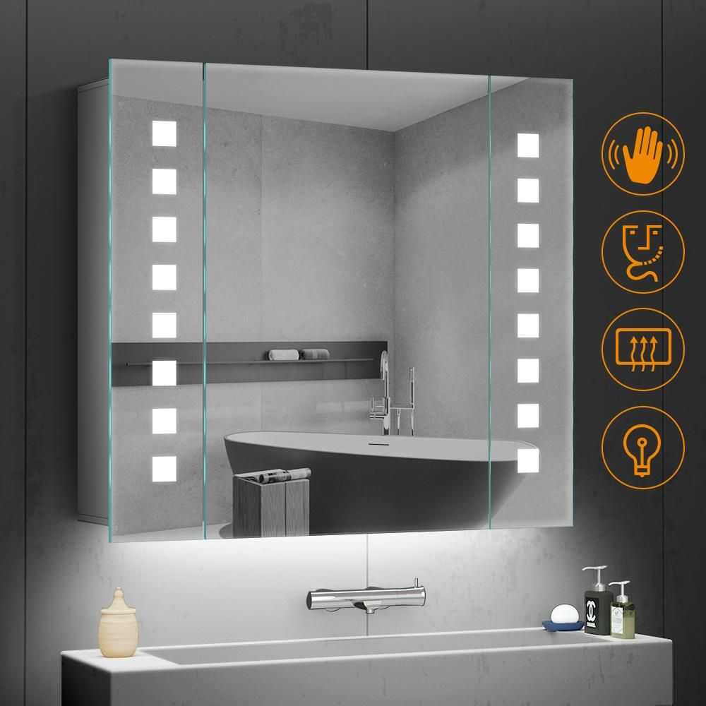 650 X 600mm Led Illuminated Bathroom Mirror Cabinet Aluminum Bathroom Mirror With Shaver Socket Demister Square Lights Mirror Cabinets Bathroom Mirror Cabinet Glass Shelves