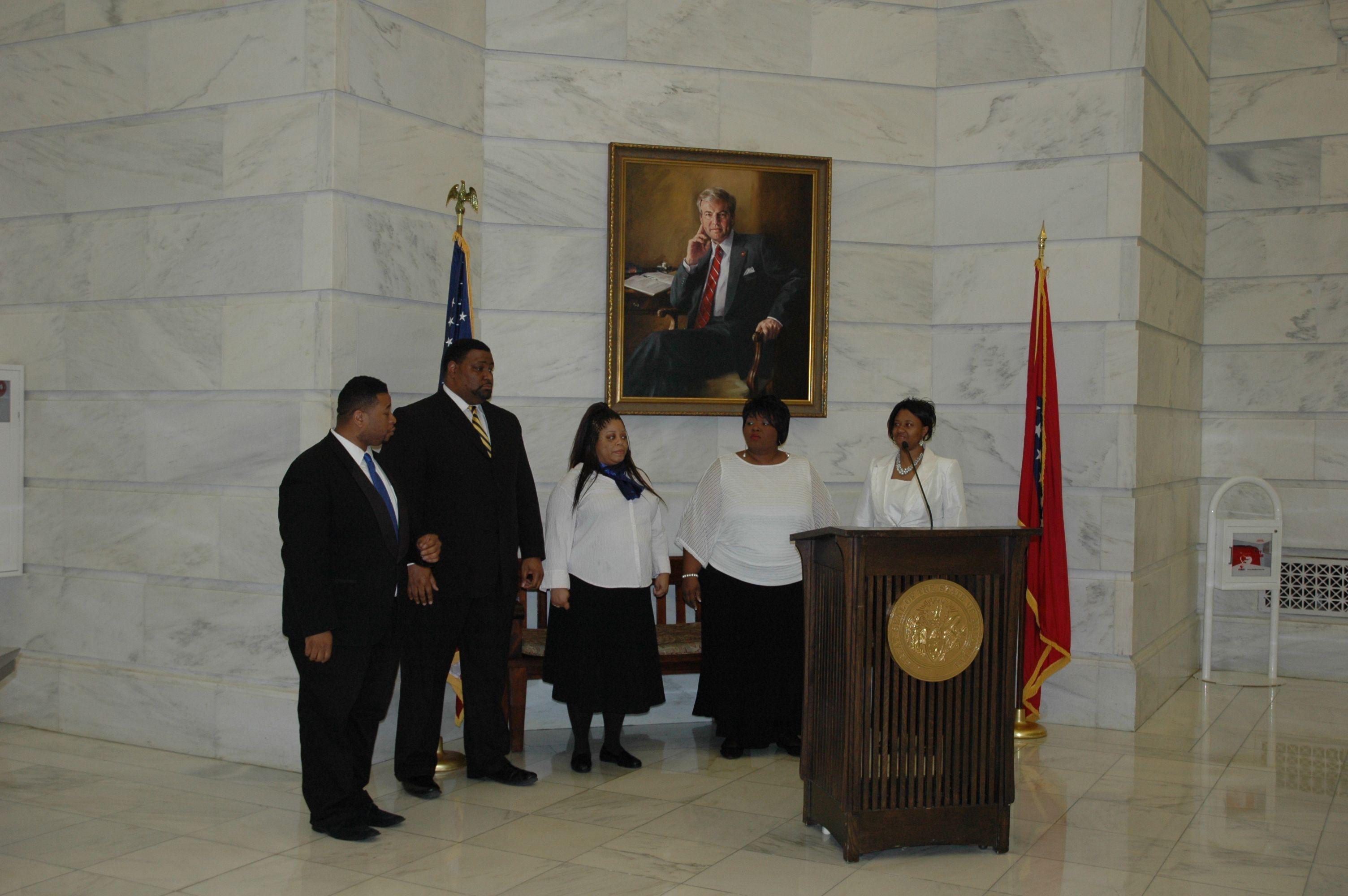 Past & Present Arkansas African American Legislators, 2/11/2014, Arkansas State Capitol.  Members of the Shorther College Choir preparing to perform.
