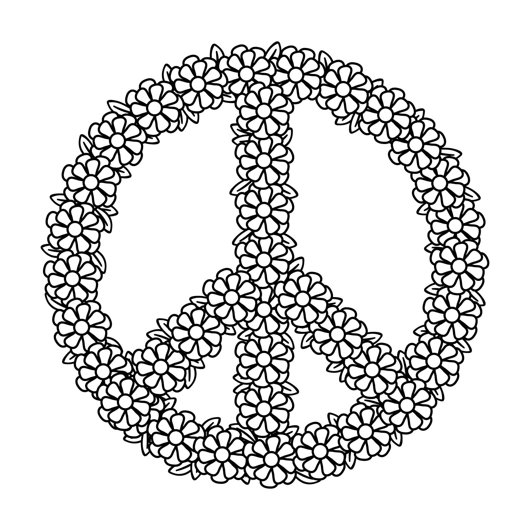 Floral Peace Sign Svg Peace Symbol Svg Commercial Use Etsy Peace Sign Art Peace Sign Mandala Coloring Pages