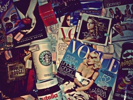 gossip girl, magazine, nutella, starbucks, taylor swift
