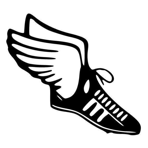 Track & Field Runner Shoe with wings Die-Cut Decal Car Window Wall ...