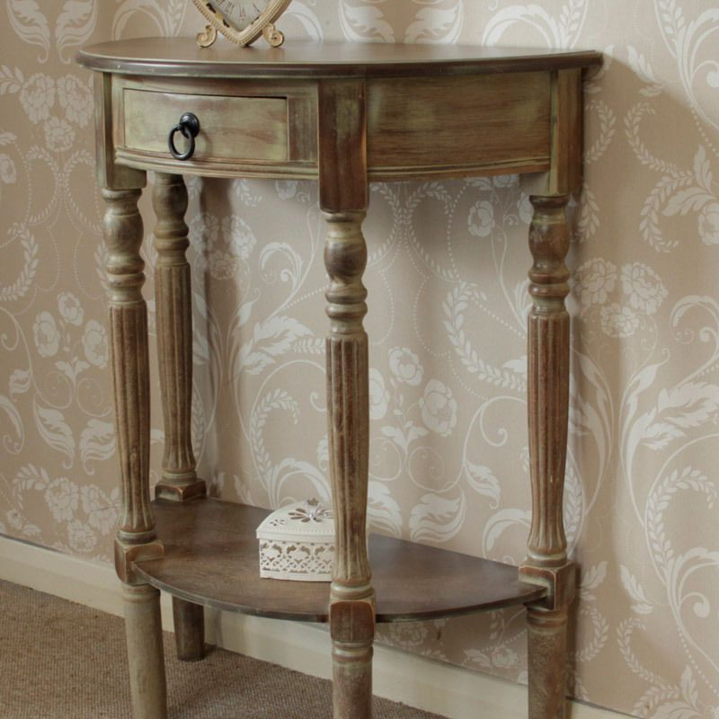 Brown Wooden Half Moon Console Table Hall Table Vintage Style Chic