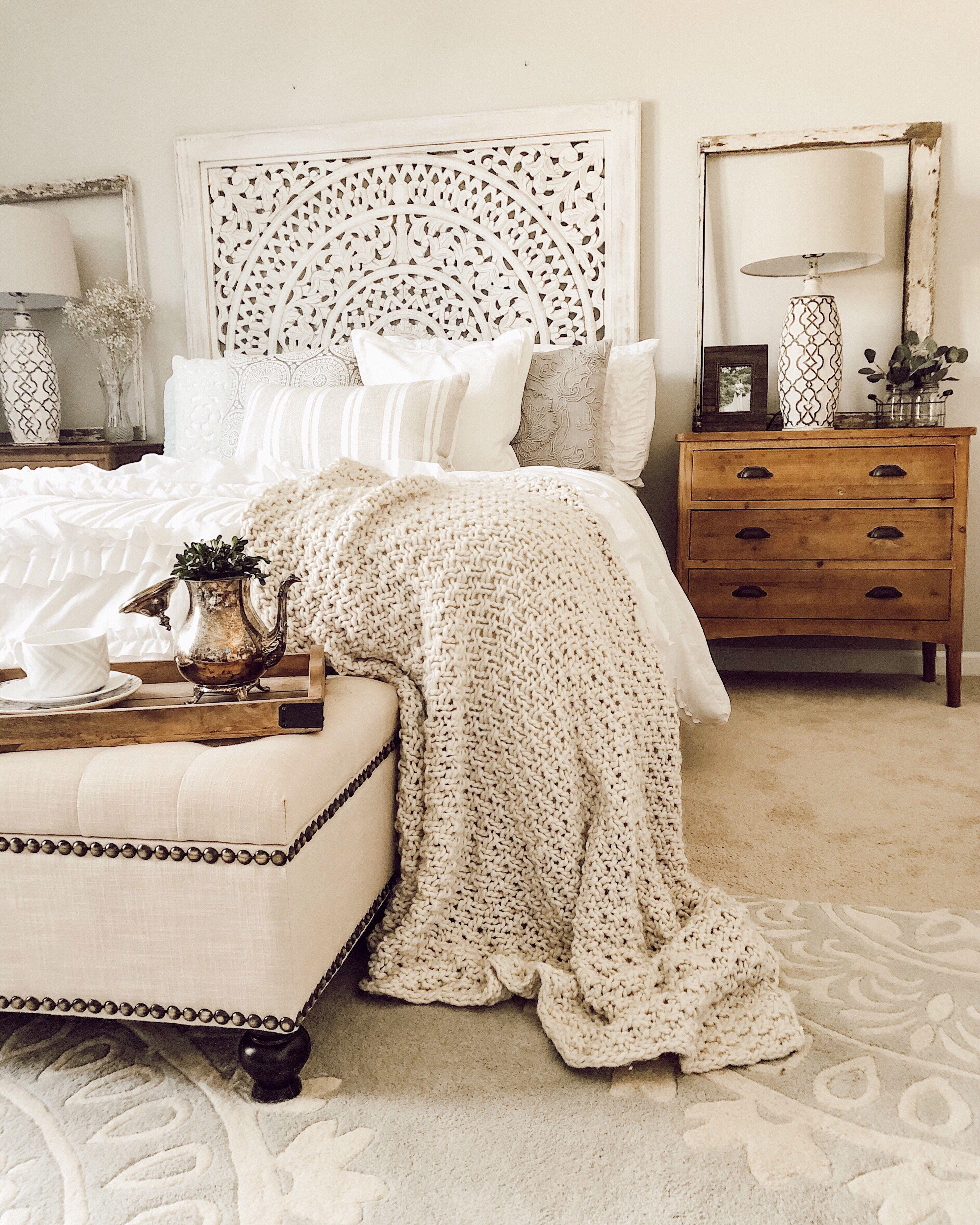 50 Cozy Farmhouse Master Bedroom Remodel Ideas: Farmhouse Bedroom, White Farmhouse Bedding, Ruffle