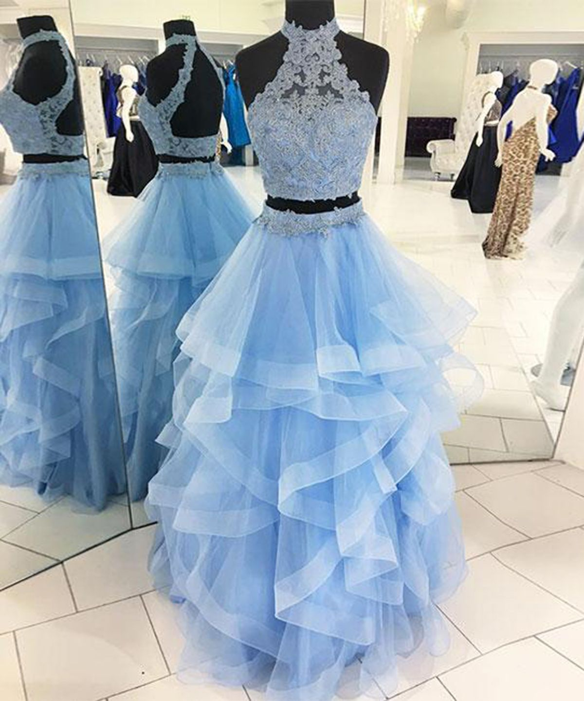 Ice blue tulle two pieces open back long ruffles evening dress, long lace party dress from Sweetheart Dress - Custom made prom dress, Prom dresses lace, Prom dresses for teens, Backless prom dresses, Prom dresses two piece, Piece prom dress - Handmade item Materials Organza Made to order Color refer to image Processing time1525 business days Delivery date510 business days Dress codeE0211 Fabric Organza Embellishment Lace Straps Strapless Sleeves Sleeveless Silhouette Aline Neckline O neck Hemline Floor le