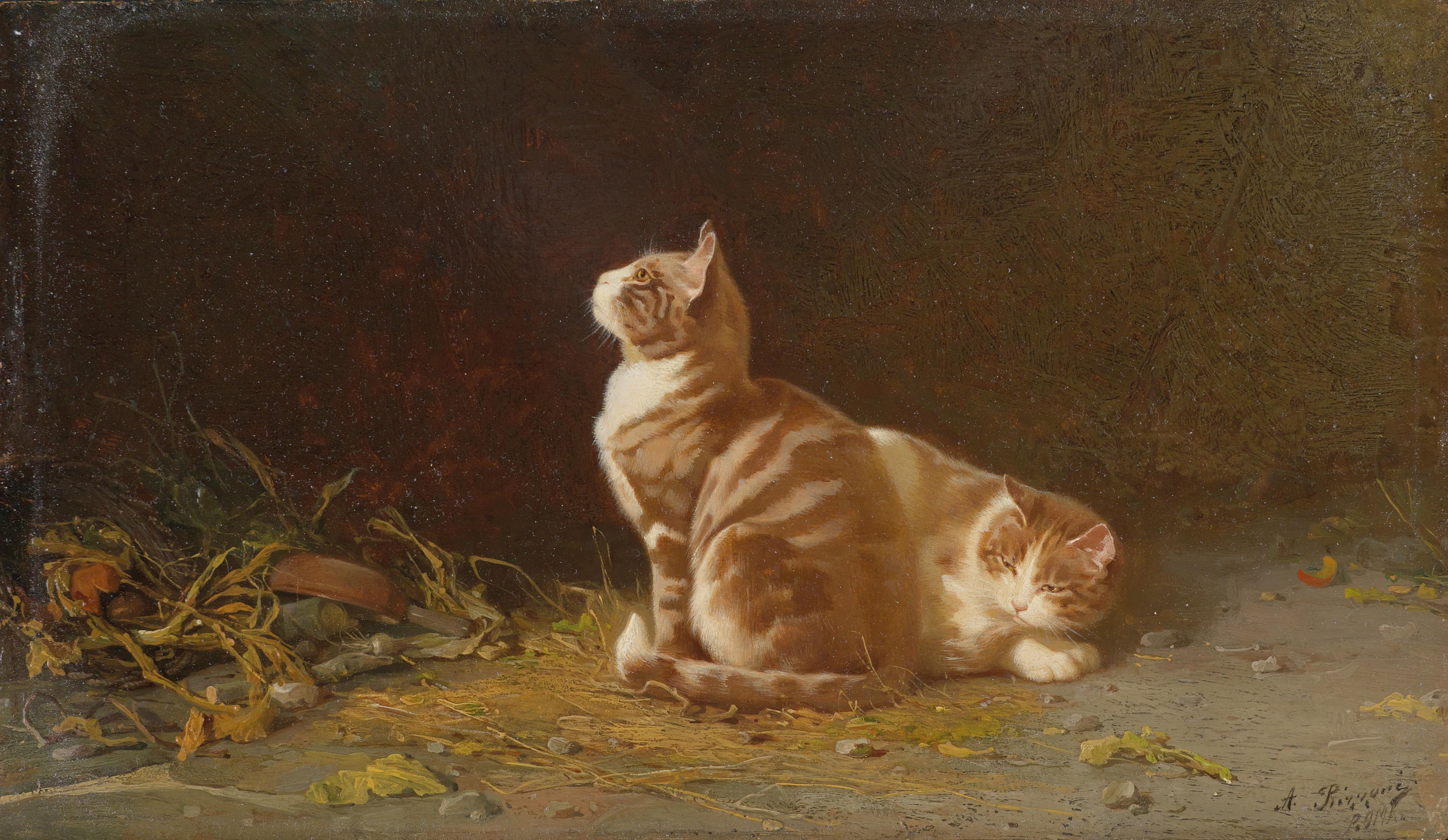 Alexander Antonowich Rizzoni (1836–1902) - Two Cats, 1889