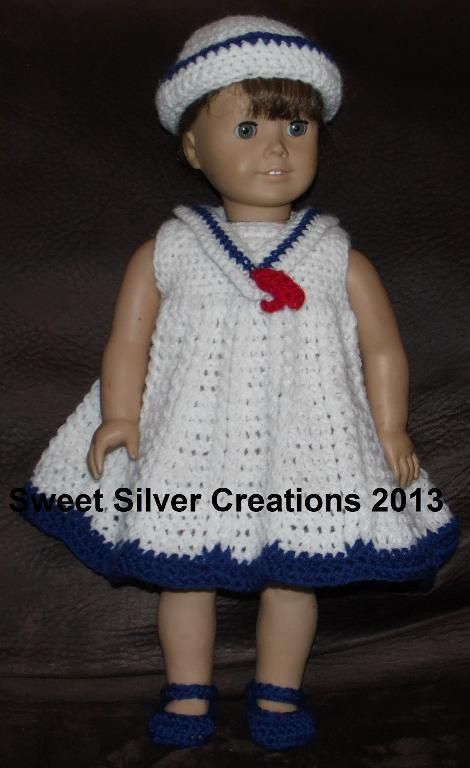 18 Inch American Girl Sailor Dolls Crochet Doll Clothes And