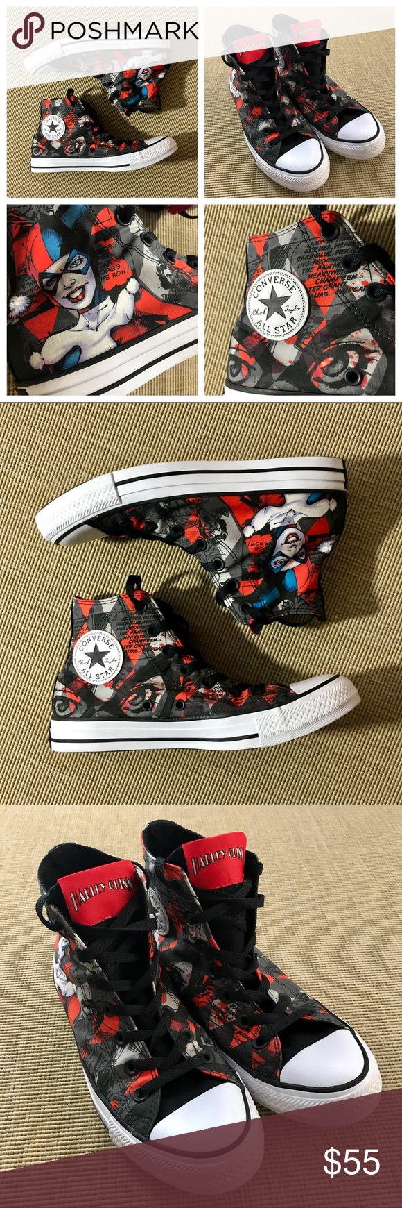 952febe3038b Converse Women s 8 Mens 6 Harley Quinn HiTop NEW Converse Chuck Taylor Womens  8 Mens 6 Harley Quinn DC Comics Suicide Squad HiTop. NEW without tags.