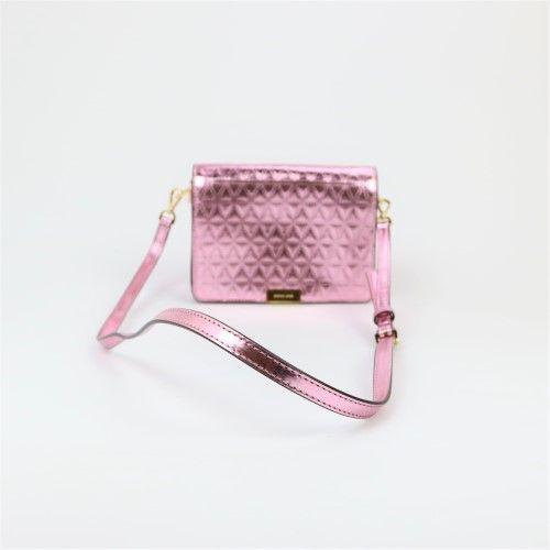 c56b9c598071 Michael Kors Ultra Pink Gold Pearlized Box Clutch Leather Handbag ...