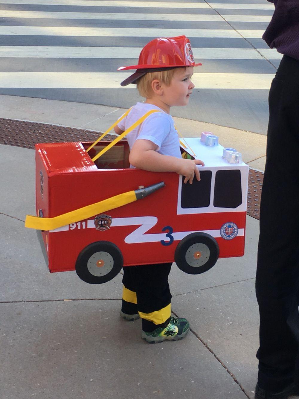 toddler preschool boy fireman fire truck halloween costume cardboard