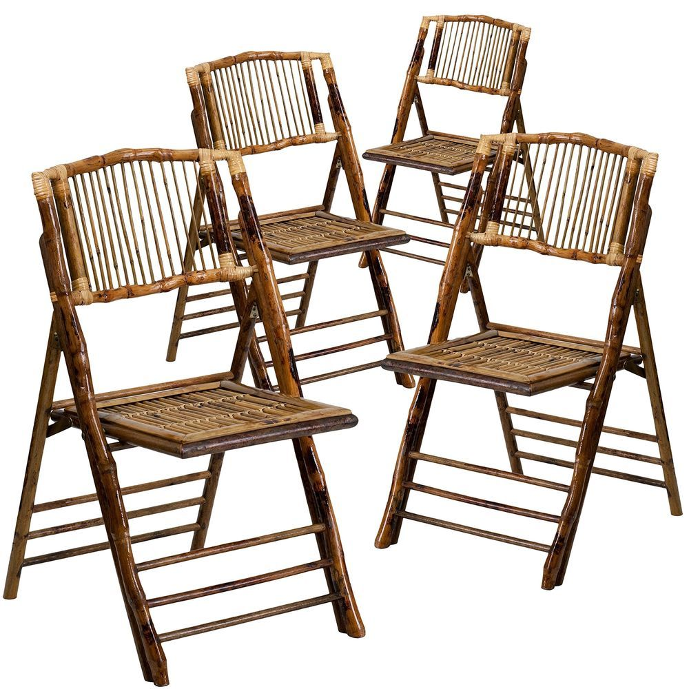 Flash Furniture 4 Pk American Champion Bamboo Folding