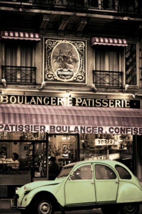 vintage 2 cv in front of parisian bakery ruemarcellin com