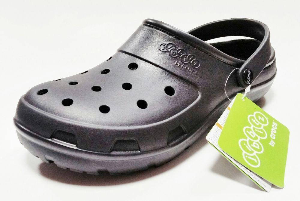 Crocs jibbitz presley mens black lined roomy fit clog