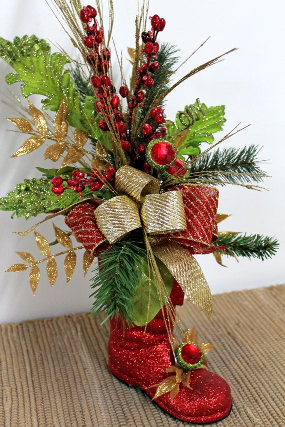 Glittery Red Christmas Boot Christmas by FloralsFromHome on Etsy, $72.00