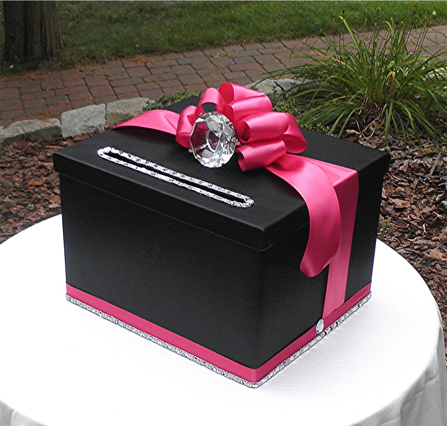 Satin wedding card box with royal blue flower and rhinestone mesh trim - Gorgeous Wedding Card Money Box Black Satin Pink Faux Diamond Ring Bling Three Sizes Of Boxes