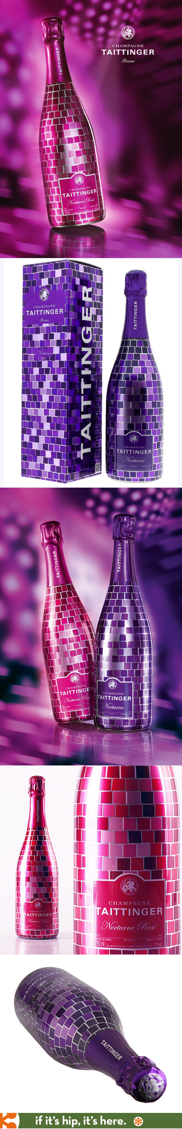 Loving Taittinger's limited Mosaic Disco packaging and bottles for Nocturne Rosé and Nocturne Sec.