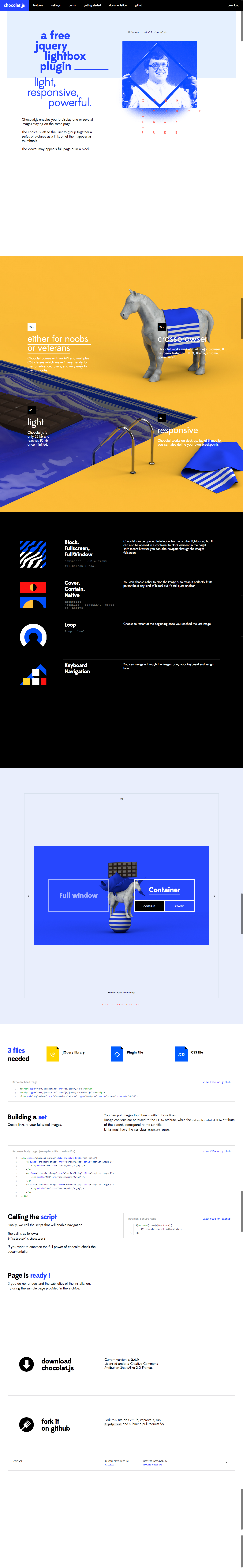 Chocolate.js – Love the design of the site for this Lightbox / Carousel.