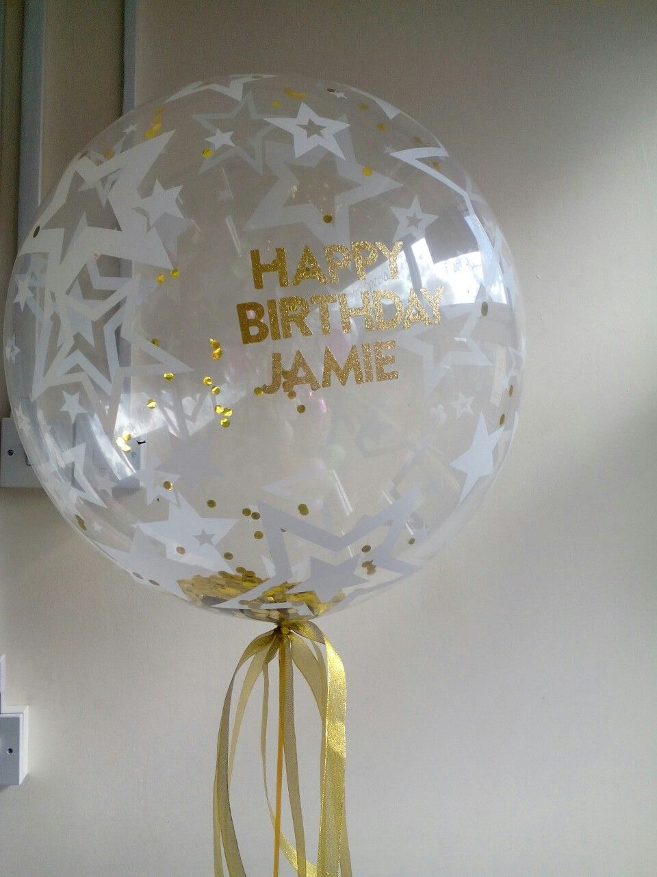 Personalised gold confetti bubble balloon Personalised gold