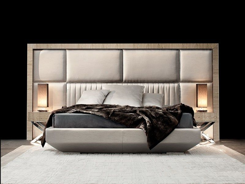 Wooden Double Bed With Upholstered Headboard Kimera Capital Decor