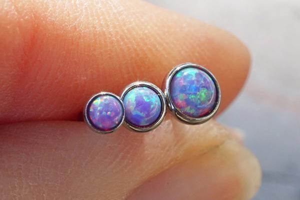 Purple Opal Triple Helix Cartilage Earring Tragus