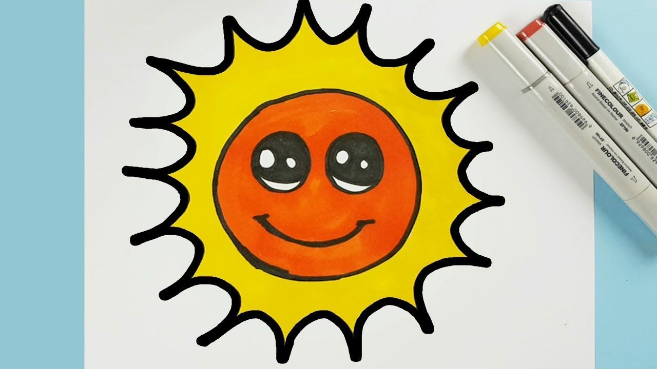 Very Easy To Draw A Cute Cartoon Sun Step By Step And Color For Kids H Easy Drawings Cartoon Sun Coloring For Kids
