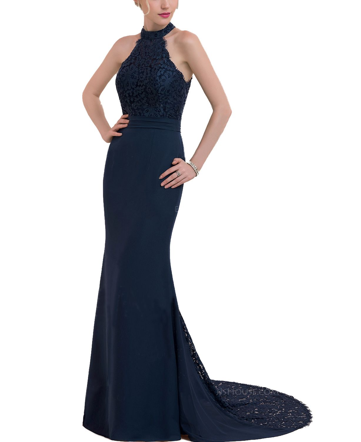Halter navy blue lace mermaid prom dresslong navy prom dresses