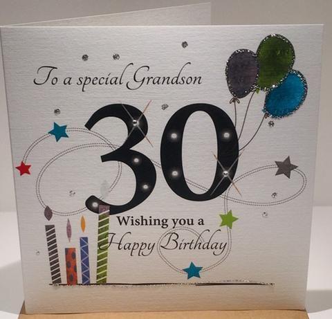 Happy 30th Birthday Card Grandson Herbysgifts Com 30th Birthday Cards Birthday Cards Grandson Birthday Cards