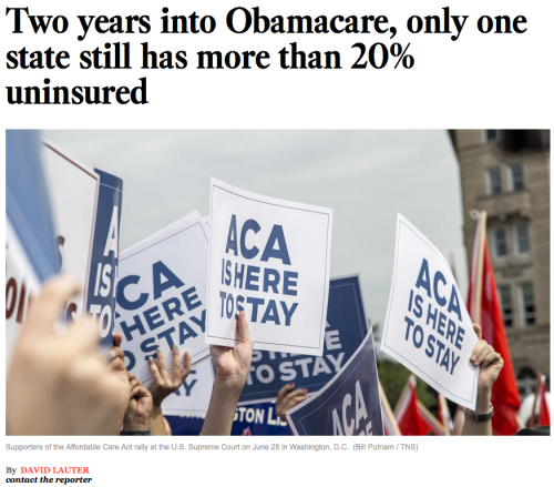 """When the Affordable Care Act took effect in October 2013, there were 14 states in which more than 1 in 5 adults lacked health insurance; today only Texas remains, according to data released Monday."" (click through to read more) #Obamacare"