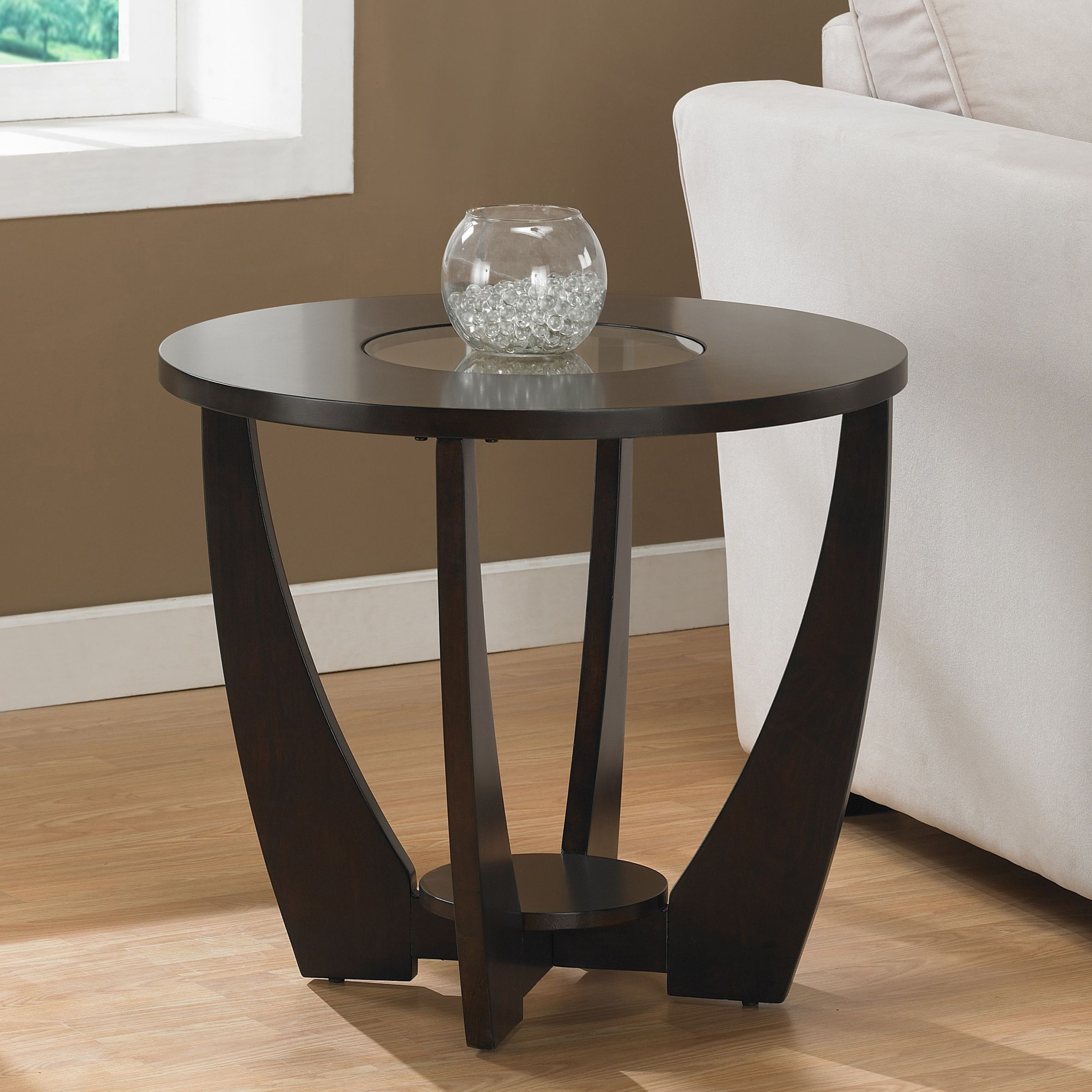 Give Your Living Room A Boost Of Contemporary Style With This Espresso End Table From Archer The Glass Insert In Round Tabletop Adds Lightness And